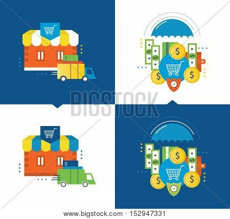 Concept of illustration - online shopping and the application process, delivery of goods, investment and protection of deposits. Vector illustrations are shown on a light and dark background.