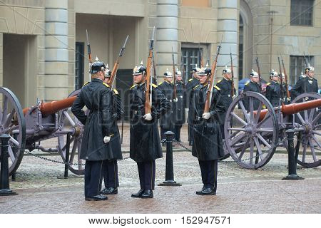 STOCKHOLM, SWEDEN - AUGUST 29, 2016: Fragment of a ceremony of a divorce of guard of honor at the royal palace. Historical landmark of the city Stockholm