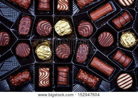 Close up shot of a chocolates in box