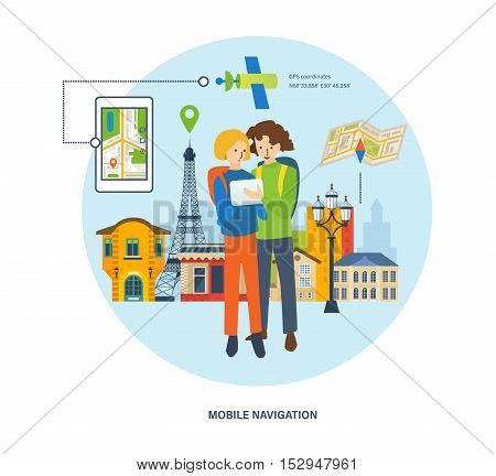 Concept of travel , the mobile navigation in travel. A guy and a girl looking for a route on the navigator on the background of the streets in France. Vector illustration.
