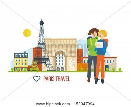 Concept of a trip to France and love for this city. A guy and a girl looking for a route to the background of the solar city and buildings. The vector graphics can be used for a banners, materials.