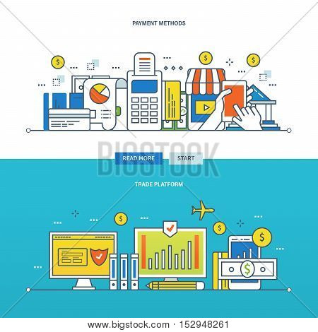 Concept of financial trading platform, and payment methods. Color Line icons collection. Vector design for website, banner, printed materials and mobile app.