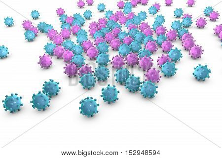 Background with viruses on a plane, 3D illustration
