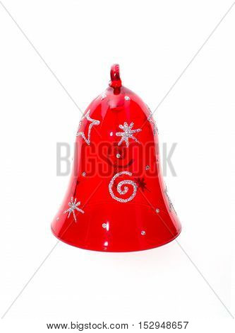 Red christmas bell isolated on white background.