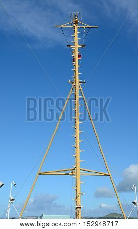 The communications mast of a ferry boat