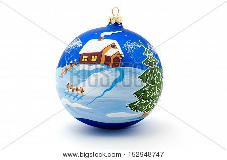 Blue christmas ball on white background. Hand-painted Christmas story.