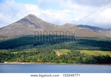 Brodick castle on the Isle of Arran with Goatfell behind it