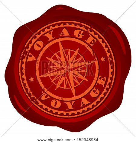 Wax seal with with compass and the text Voyage written inside the stamp, vector illustration