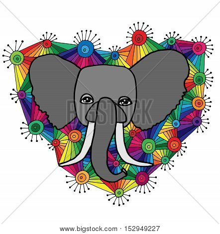 Head of elephant in the abstract colorful ornament for doodle coloring page. Vector illustration isolated on white background.