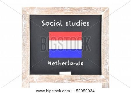 Colorful and crisp image of social studies with flag on board