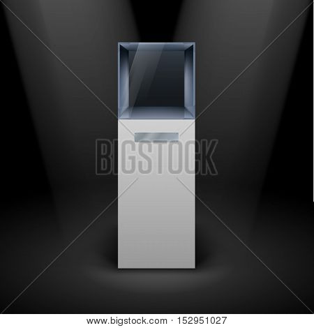Empty Glass Showcase in Cube Form for Presentation on Black Background