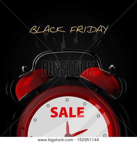 Sale alarm clock. Black friday background. Illustration
