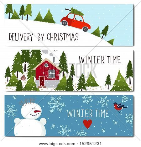 Set of 3 lovely cards templates. Christmas theme. Winter time. There is a place for your text. Vector illustration.