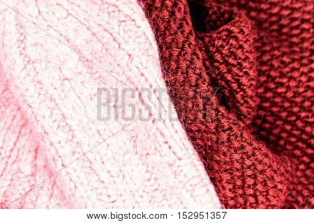 Winter knitting woolen texture background. Colorful knitted horizontal textured background.