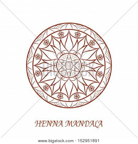 Vector Henna Color Flower Mandala over white background. Element for your designs, invitation card, yoga, meditation, astrology, mehndy, coloring book and other projects. Arabic, indian, asian motifs.
