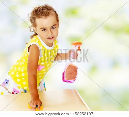The industrious little girl, cleans with a sponge the soiled surface. The girl holds a hand sprayer with detergent.Summer white green blurred background.