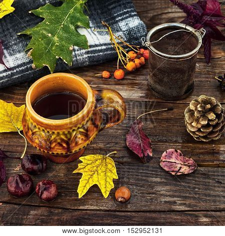 Cup of tea on the table strewn with autumn leaves and warm blanket