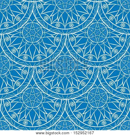 Vector Seamless Blue Floral Mandala Pattern. Seamless pattern for your designs, invitation card, yoga, meditation, astrology, fabric and other wrapped projects. Mandala Pattern in swatches panel.