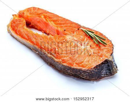 Crispy roasted salmon steak Isolated on white background.