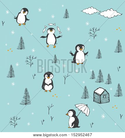 CUTE VECTOR PATTERN WITH HAND DRAWN PENGUINS. Penguin characters, beautiful design elements, perfect for prints and patterns.