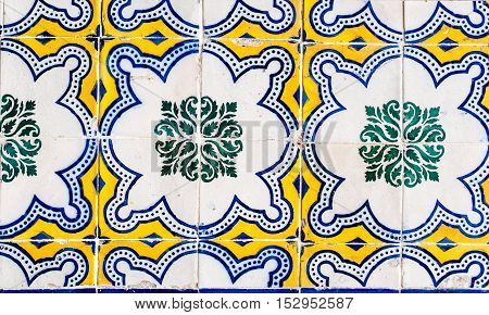 Lisbon Portugal - January 19 2016 - Detail of the traditional tiles azulejos from facade of old house in Lisbon Portugal