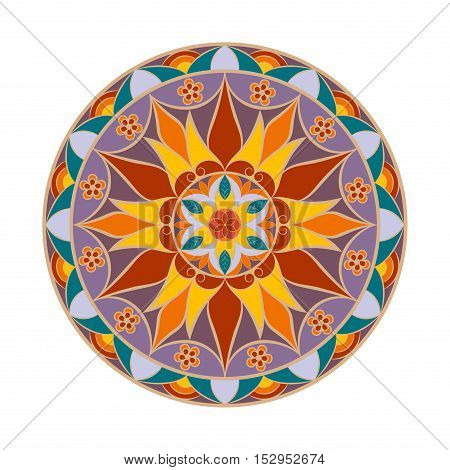 Vector Colour Flower Mandala. Ethnic decorative element for your designs, invitation card, yoga, meditation, astrology and other projects. Mandala Icon.