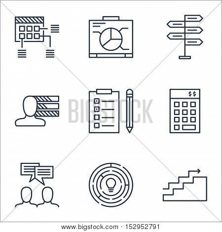 Set Of Project Management Icons On Discussion, Opportunity And Reminder Topics. Editable Vector Illu