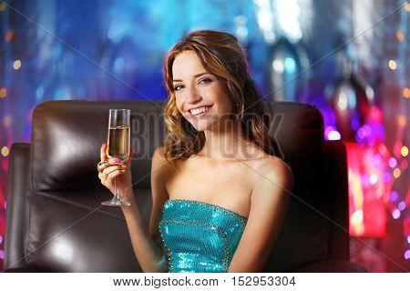 Beautiful girl in nightclub