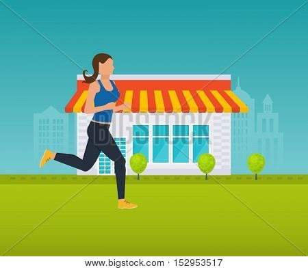 Concept illustration - maintaining a healthy lifestyle, athletics, running outside on the lawn. Vector illustration can be used in the form of brochures, flyers, handouts.