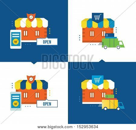 Concept of illustration - online shopping and the application process, delivery of goods, store, buying, mobile marketing. Vector illustrations are shown on a light and dark background.