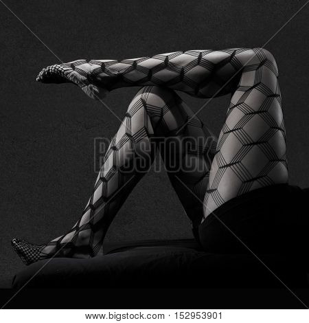 Low key grey scale photo of sexy female nude legs in net tights against dark background with copy space