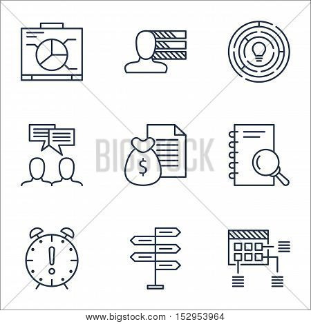 Set Of Project Management Icons On Innovation, Time Management And Report Topics. Editable Vector Il