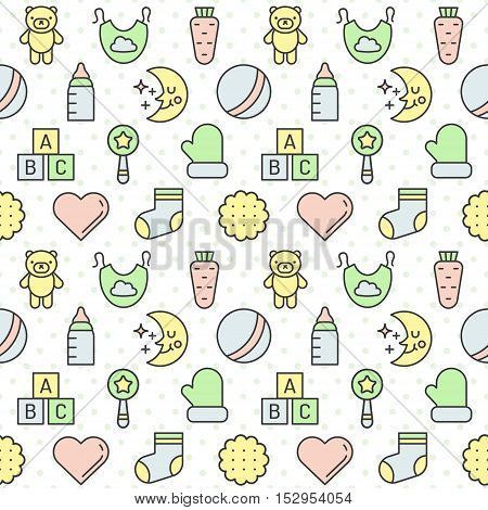 Baby (girl and boy) things outline multicolored cute vector seamless pattern. Clean and simple design. Part one.