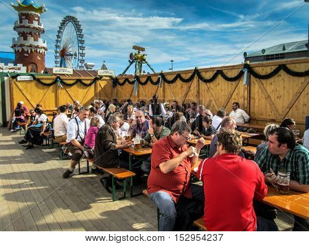MUNICH, GERMANY - CIRCA SEPTEMBER 2014: Crowds in the Beer Tent, Munich, Germany