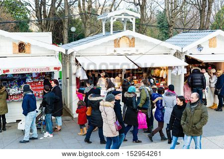 PARIS, FRANCE - DECEMBER 2015: Traditional Christmas markets of the Champs Elysees