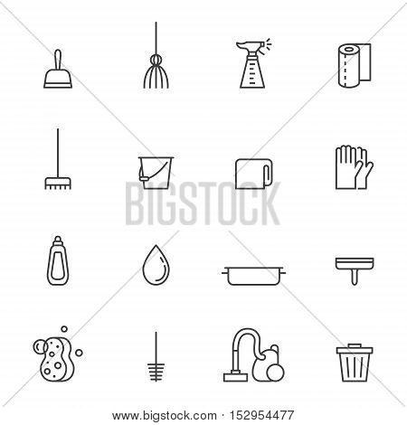 Cleaning outline gray vector icons set. Minimal and simple design.