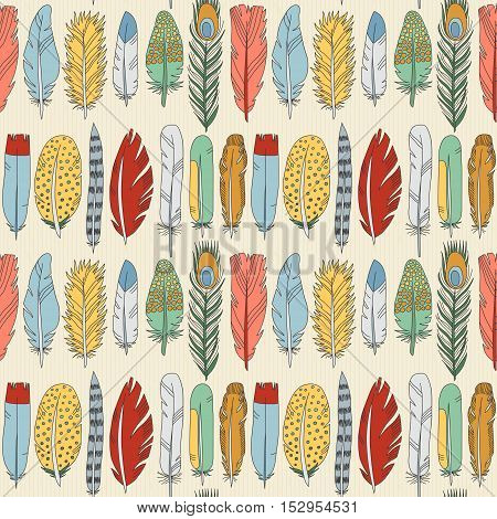 Feathers and stripes doodle multicolored seamless pattern. Cartoon naive style.