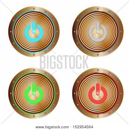 vector set of copper buttons with on symbols