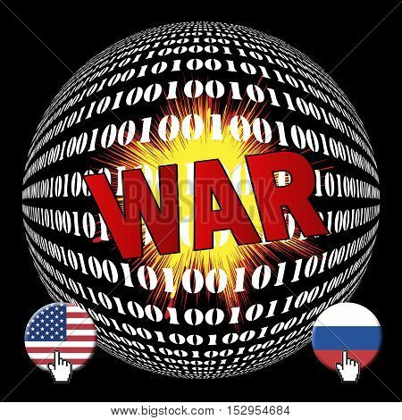 Cyberwar between USA and Russia. Future war between America and Russia on the internet