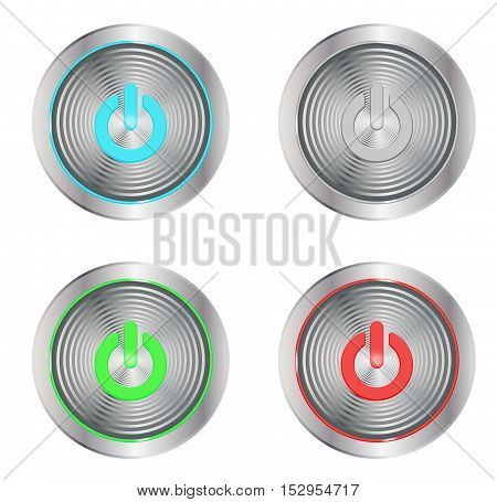 vector set of silver buttons with on symbols