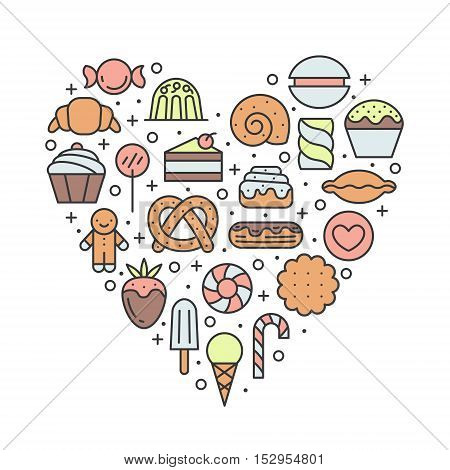 Sweets outline multicolored heart background. Clean and simple design.