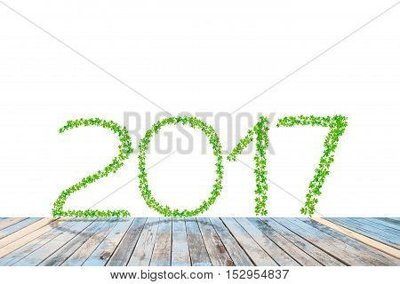 2017 year made from green leaves with perspective wood floor