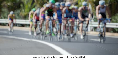 Cycling competition race at high speed,blur image abstract