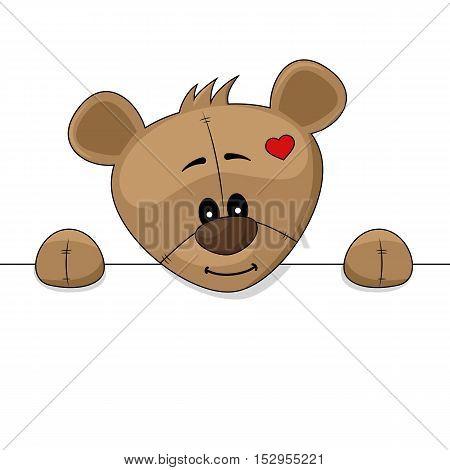 Cute cartoon teddy bear holding blank placard