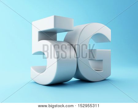 3d renderer image. 5G wireless technology sign. Mobile telecommunication concept.
