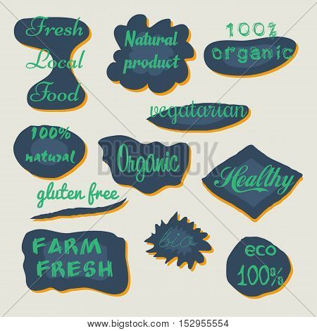 Set of watercolor labels and badges for organic food and drink, natural products, restaurant, healthy food market and production, on the nature blurred background. Vector illustrations.