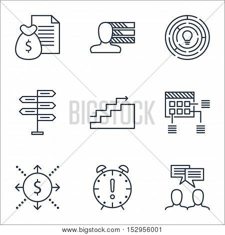 Set Of Project Management Icons On Time Management, Money And Innovation Topics. Editable Vector Ill