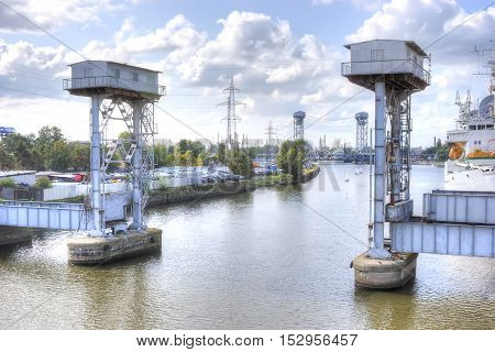 Kaliningrad. Old balance-bridge for the passage of ships with large dimensions on the Pregolya River