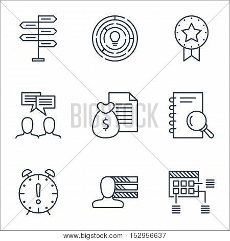 Set Of Project Management Icons On Present Badge, Report And Analysis Topics. Editable Vector Illust