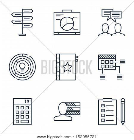 Set Of Project Management Icons On Reminder, Board And Warranty Topics. Editable Vector Illustration